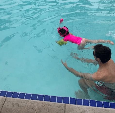 Ninja Shark Pink Kids Mask in Swimming Pool