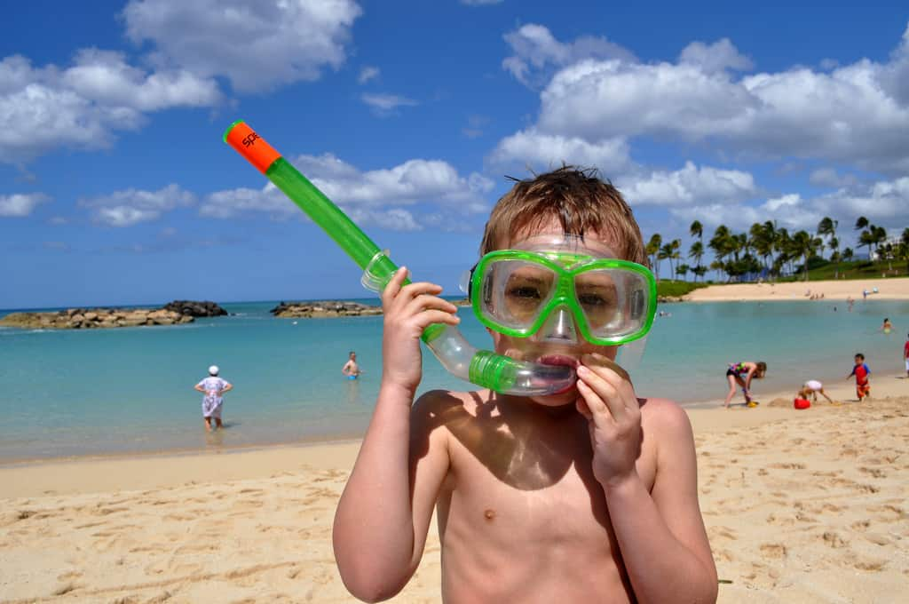 Child Snorkeling with Tube and Mask