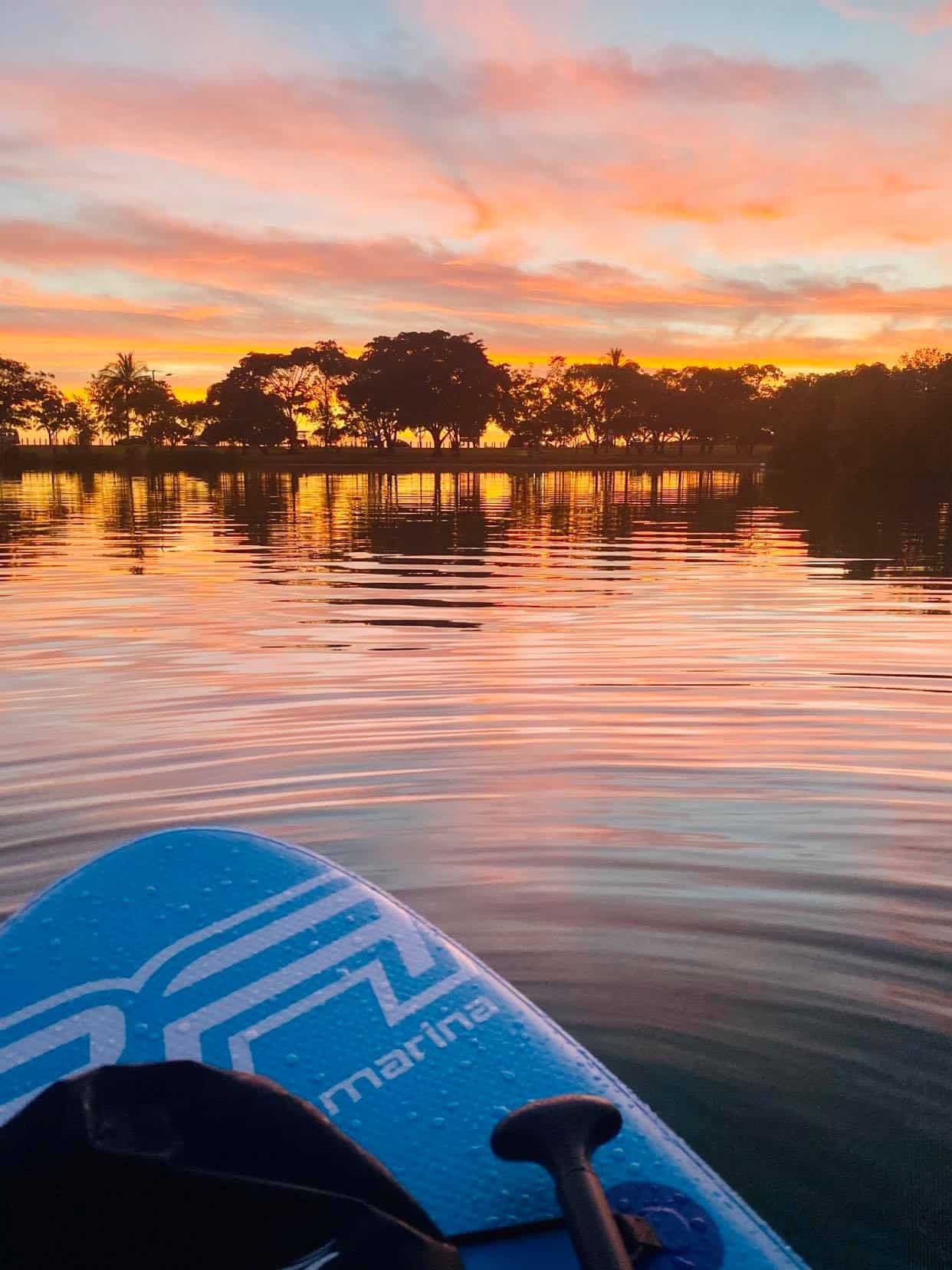 Paddle Boarding at Sunset - Lake Alexander