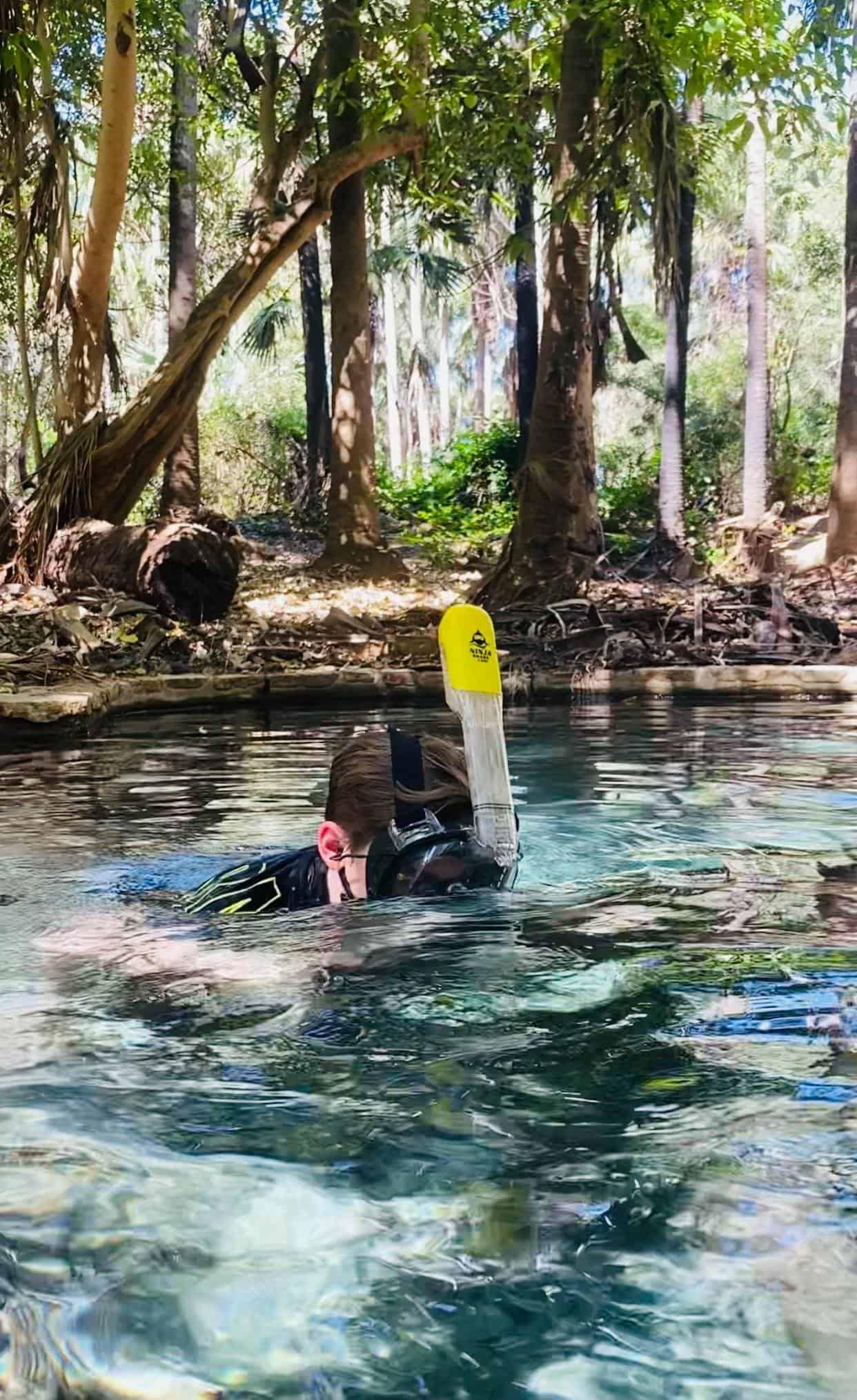 Using the Ninja Shark Full Face Snorkel Mask at Mataranka