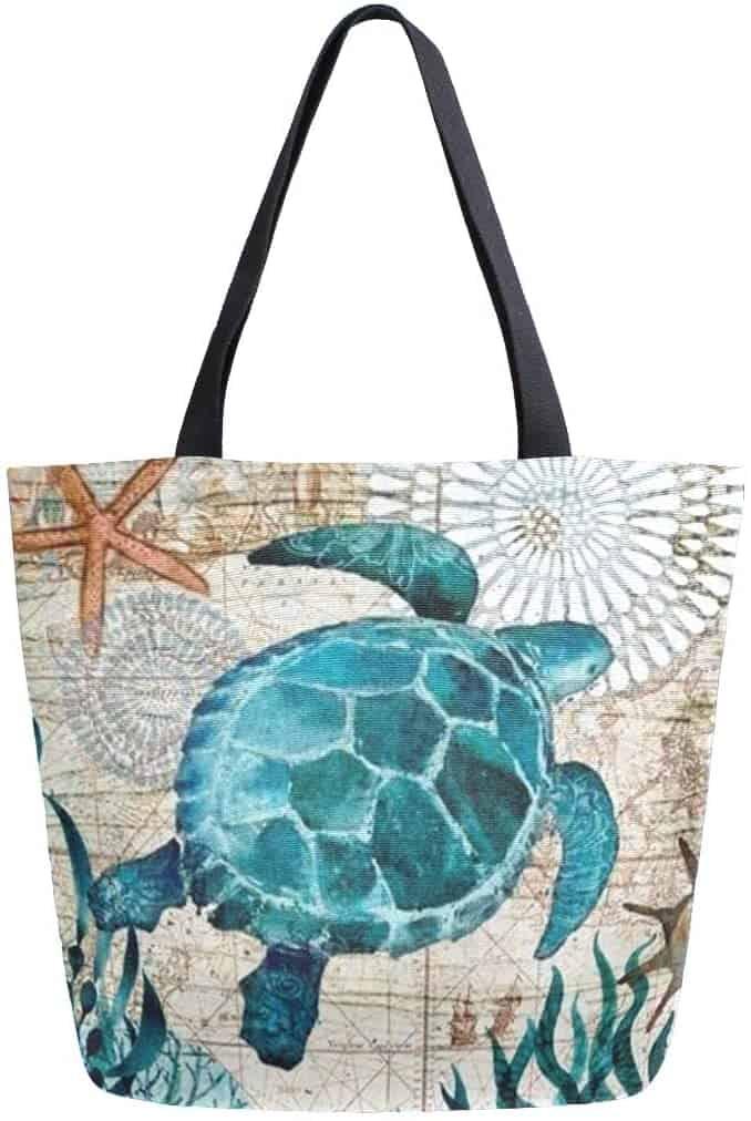 Canvas Tote Bag - turtle design
