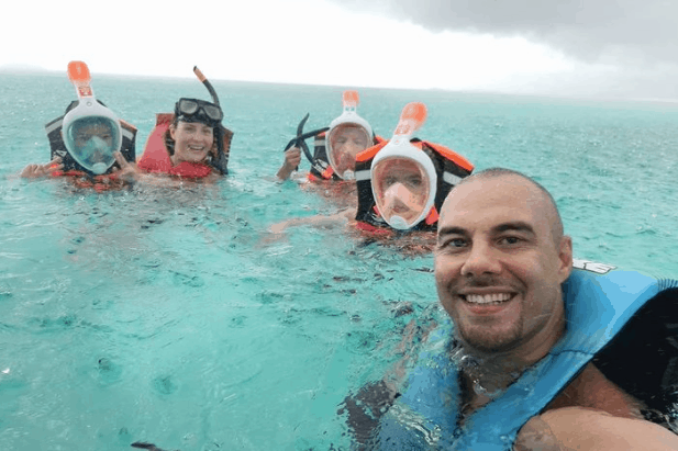 Doug Kramer and Family on Holiday with Full Face Snorkel Masks